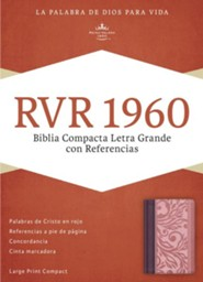 RVR 1960 Biblia Compacta Letra Grande con Referencias, borravino y rosado simil piel, RVR 1960 Large-Print Compact Quick Reference Bible--soft leather-look, blush and wine