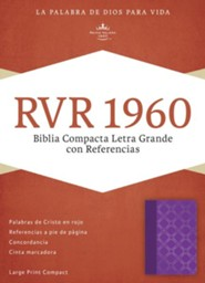 RVR 1960 Biblia Compacta Letra Grande con Referencias, violeta con plateado simil piel, RVR 1960 Large-Print Compact Quick Reference Bible--soft leather-look, violet with silver motif