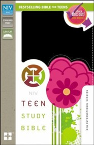 NIV Teen Study Bible, Italian Duo-Tone, Black Licorice/Hot Pink