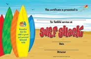 VBS 2016 Surf Shack: Catch the Wave of God's Amazing Love - Leader Recognition Certificates (Pkg of 10)
