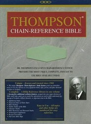KJV Thompson Chain-Reference Bible, Handy Size, Sage Green Kirvella Imitation Leather, Thumb-Indexed  -