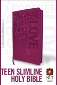 NLT Teen Slimline Bible 1 Cor 13 Hot Pink, Leatherlike  -