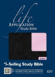 KJV Life Application Study Bible, TuTone Black/Patent Leather Pink Indexed Leatherlike  -     