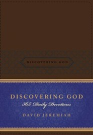 Discovering God: 365 Daily Devotions--soft leather-look, brown