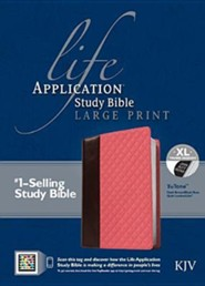 KJV Life Application Study Bible Large Print TuTone Imitation Leather, dark brown/blush rose quilt Indexed
