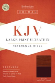 KJV Large Print UltraThin Reference Bible, Brown and Tan Imitation Leather, Thumb-Indexed