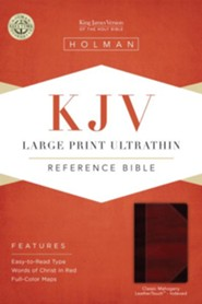 KJV Large Print UltraThin Reference Bible, Classic Mahogany Imitation Leather, Thumb-Indexed - Imperfectly Imprinted Bibles