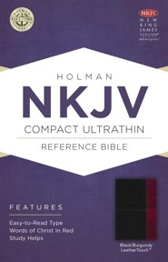 NKJV Compact UltraThin Reference Bible, Black and Burgundy Imitation Leather
