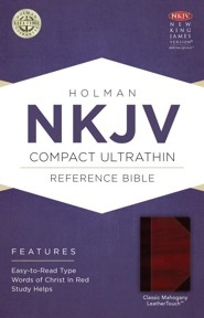 NKJV Compact UltraThin Reference Bible, Classic Mahogany Imitation Leather