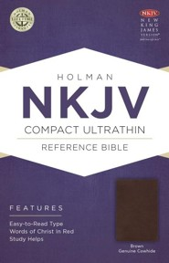 NKJV Compact UltraThin Reference Bible, Brown Genuine Cowhide  -