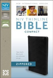 NIV Thinline Zippered Collection Bible, Compact, Bonded Leather, Black