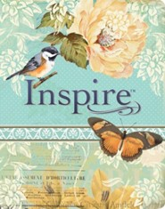 NLT Inspire Bible: The Bible for Creative Journaling, LeatherLike, Silky Vintage Blue/Cream