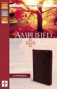 Amplified Zippered Collection Bible, Burgundy  -