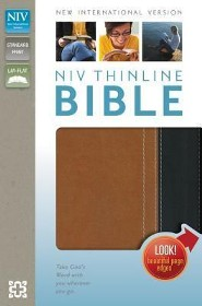 NIV Thinline Bible, Italian Duo-Tone, Caramel/Black  -