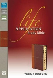 NIV Life Application Study Bible, Imitation Leather, Carmel Dark Carmel, Indexed - Slightly Imperfect