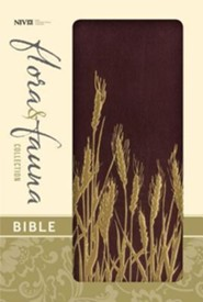 NIV Flora and Fauna Collection Bible, Italian Duo-Tone, Burgundy/Gold Wheat  -