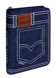 Santa Biblia-RVR 1960-Zipper Closure, Fabric, Denim