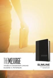 Message Slimline Bible, Charcoal Diamond Leather-look