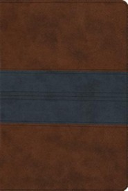ESV Single Column Heritage Bible (TruTone, Saddle/Navy, Trail Design), Leather, imitation