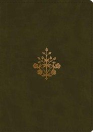 ESV Study Bible (TruTone, Olive, Branch Design), Leather, imitation, Green