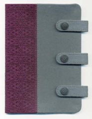 NKJV Compact UltraSlim Bible, Leathersoft, gray/plum  -
