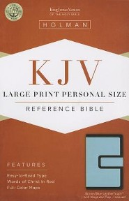 KJV Large Print Personal Size Reference Bible, Brown and Blue LeatherTouch with Magnetic Flap, Thumb-Indexed
