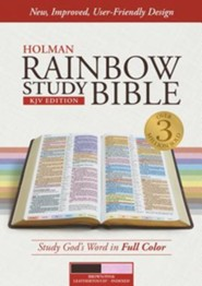 KJV Rainbow Study Bible, Brown and Pink LeatherTouch, Thumb-Indexed