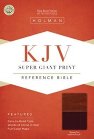 KJV Super Giant Print Reference Bible, Brown and Tan LeatherTouch