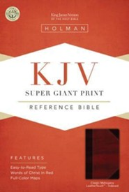 KJV Super Giant Print Reference Bible, Classic Mahogany LeatherTouch, Thumb-Indexed