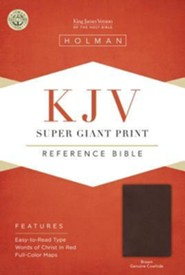 KJV Super Giant Print Reference Bible, Brown Genuine Cowhide - Slightly Imperfect