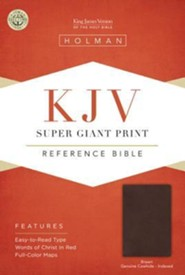 KJV Super Giant Print Reference Bible, Brown Genuine Cowhide, Thumb-Indexed