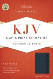 KJV Large Print UltraThin Reference Bible, Slate Blue Imitation Leather, Thumb-Indexed