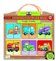 tough trucks: green start Earth-Friendly Wooden Puzzle  with Handy Carry & Storage Case, 12 Piece  -