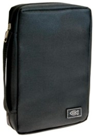 Black Polyester W/Fish Emblem Bible Cover   - Slightly Imperfect