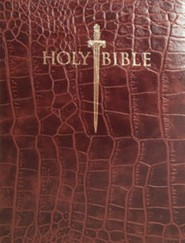 KJV Giant Print Sword Study Bible, Ultrasoft Walnut Alligator