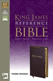 KJV Giant Print Reference Bible-Personal Size, Bonded Leather, Burgundy, Thumb Index  -