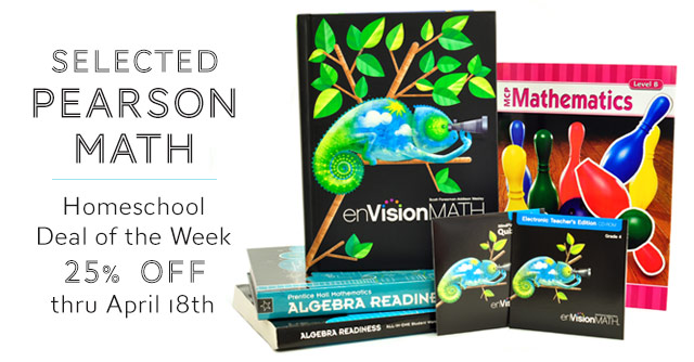 Selected Pearson Math - Homeschool Deal of the Week - 25% Off thru April 18th