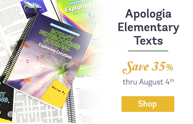 Apologia Elementary Texts Save 35 percent