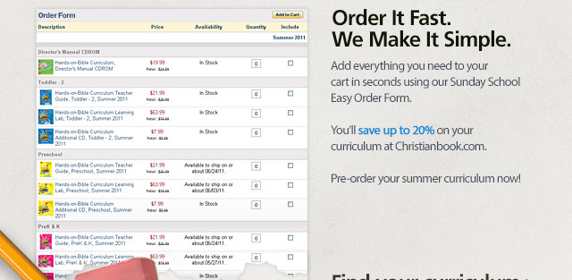 Add everything you need to your cart in seconds using our Sunday School Easy Order Form