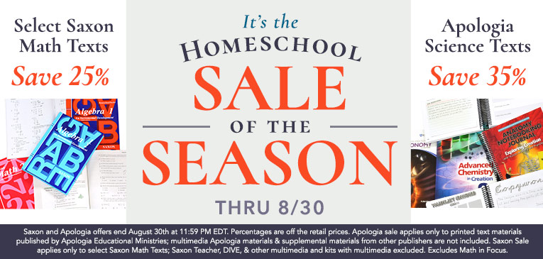 Apologia & Saxon Sale