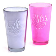Glassware: Mr & Mrs