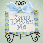 Jesus Loves Me Easel Art, Blue  -