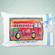 Let Your Light Shine Fire truck Pillow  -