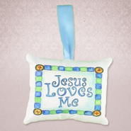 Jesus Loves Me Pillow Music Box, Blue   -