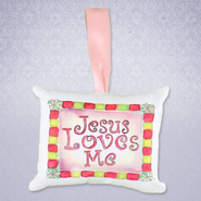 Jesus Loves Me Pillow Music Box, Pink   -