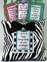 Four Scriptures Zebra Print Pillow  -