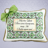 May the Lord Bless You Pillow With Bow, Green  -