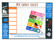 Inspirational Chore Chart, Vintage Sports  -