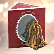 Star Nativity Bell Olive Wood Ornament, Boxed   -