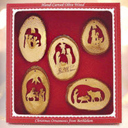 Silent Night Olive Wood Ornament Collection, 5 Pieces   -